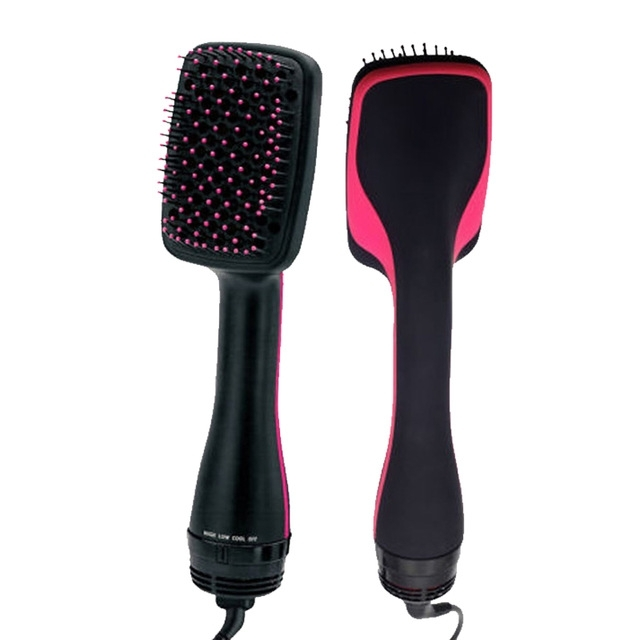 Afbeelding van Professionele multi functie elektrische haar Blow Brush hete lucht haar krullen kam salon Hair Styler plug standaard: US (Rose rood)
