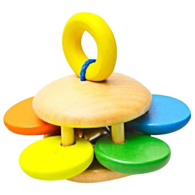 Afbeelding van Baby houten rammelaar Bell speelgoed baby Handbell rammel kinderen muziek instrument educatief speelgoed grappige pasgeborenen handvat Bells speelgoed (bloem patroon)