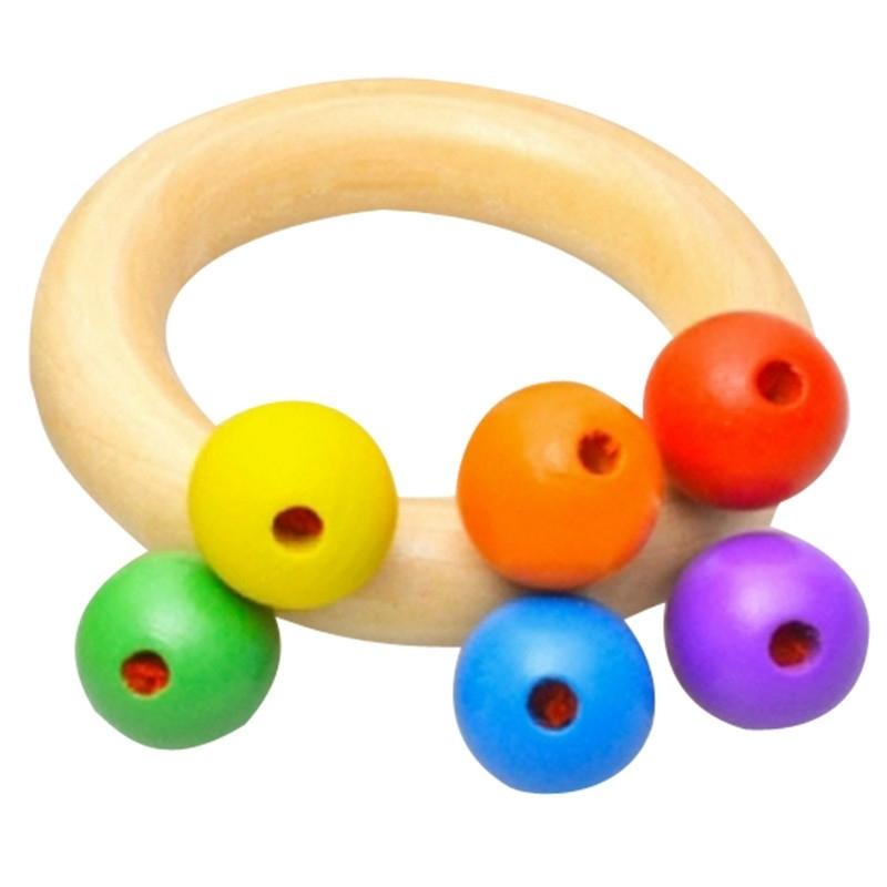 Afbeelding van Baby houten rammelaar Bell speelgoed baby Handbell rammel kinderen muziek instrument educatief speelgoed grappige pasgeborenen handvat Bells speelgoed (ring type)