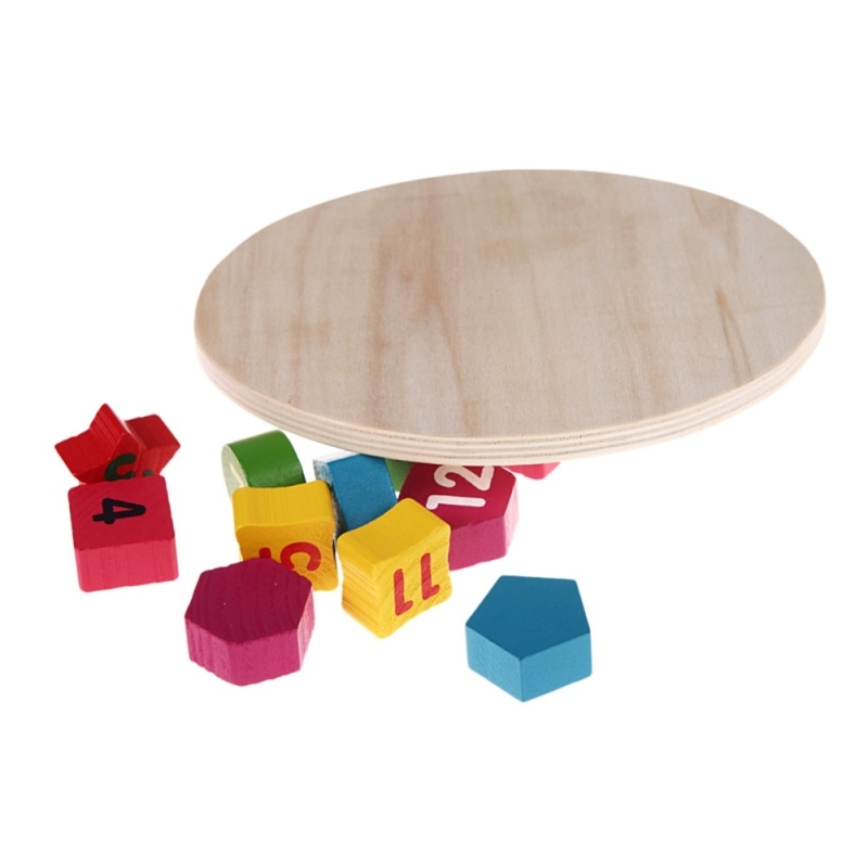 Afbeelding van Houten nummer klok Toy Baby kleurrijke puzzel digitale geometrie klok educatieve speelgoed Baby jongen onderwijs speelgoed willekeurige aanwijzer levering