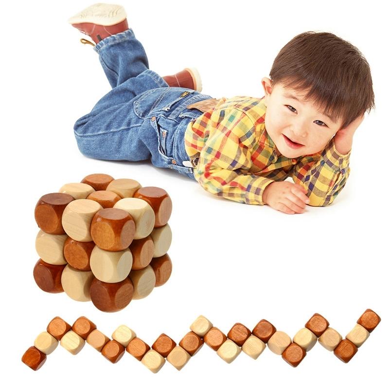 Afbeelding van Houten kinderen volwassen Casual ontgrendelen speelgoed kubus speelgoed DIY Kids Baby educatief speelgoed