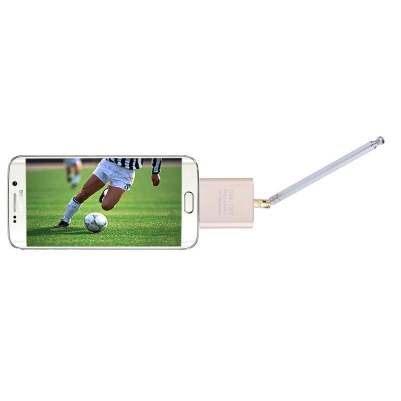 DVB-T2 / DVB-T draagbare Micro USB Poort Digitale TV Ontvanger Tuner voor Android  Telefoons / Tablet PC met OTG functie (Goud)