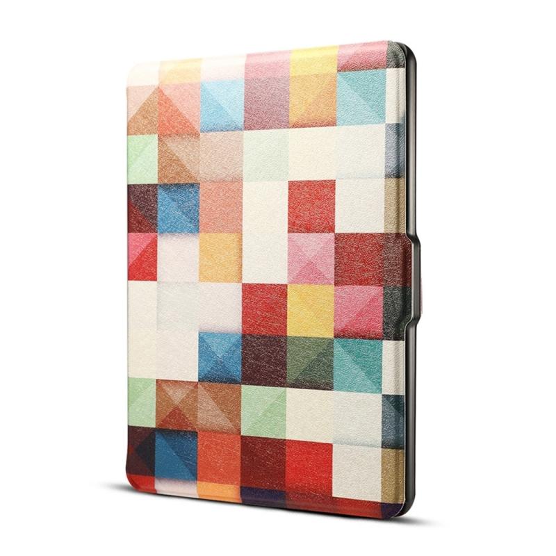 Afbeelding van Kleuren magische kubus Print horizontaal spiegelen PU lederen beschermhoes voor Amazon Kindle Paperwhite 1 & 2 & 3 met slaap / Wake-up