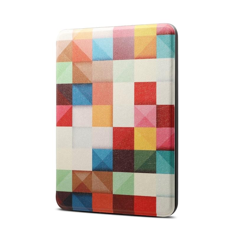 Afbeelding van Kleuren magische kubus patroon horizontaal spiegelen PU + TPU lederen beschermhoes voor Amazon Kindle Paperwhite 4 (2018) met slaap & Wake-up functie neer
