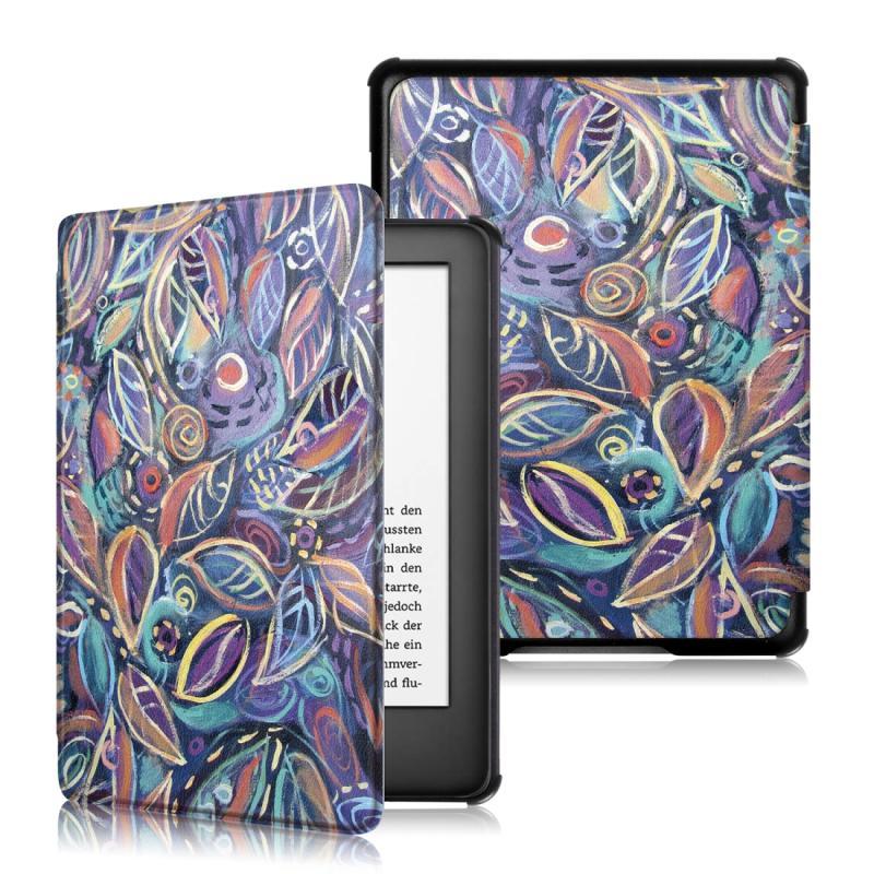 Afbeelding van Gekleurde tekening patroon horizontaal flip leergeval voor Amazon Kindle 2019, met houder & slaap / Wake-up functie (kleurrijke bladeren patroon)
