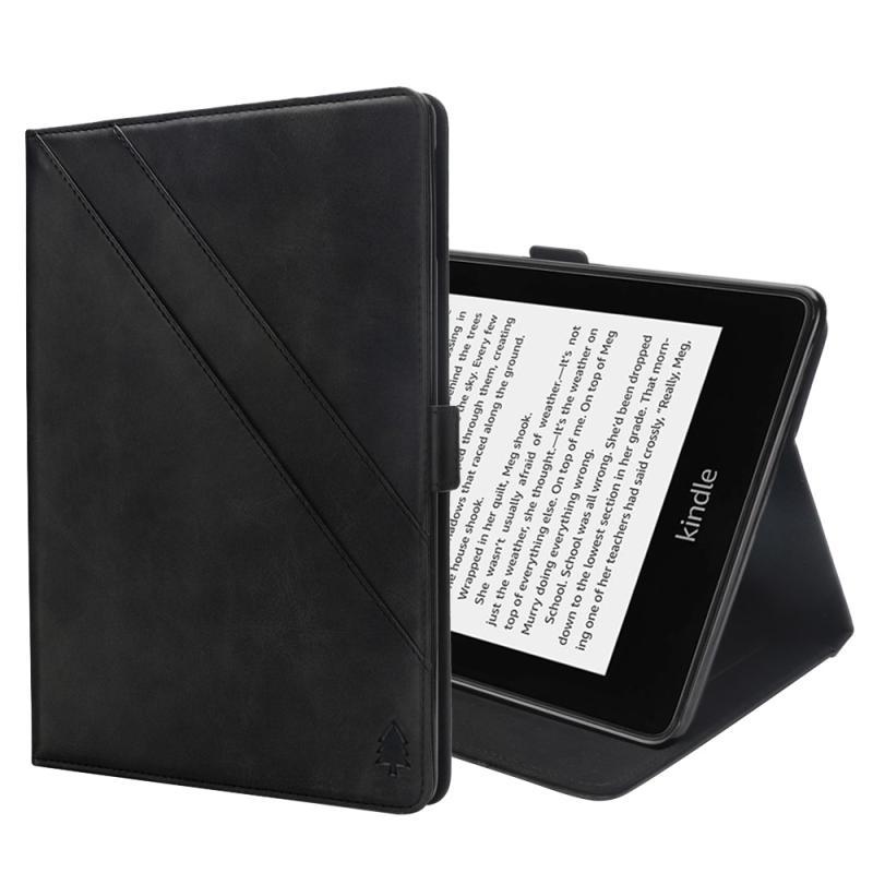 Afbeelding van Horizontale Flip dubbele houder lederen hoes for Amazon Kindle Paperwhite 4 (2018), met-kaartsleuven & fotolijstjes (zwart)