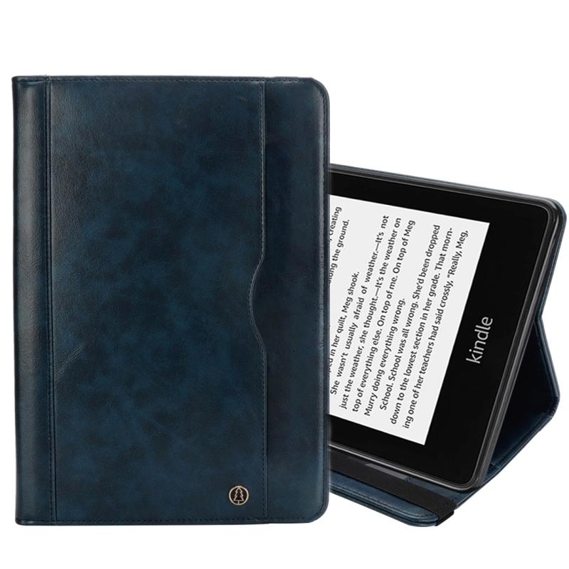 Afbeelding van Horizontale Flip dubbele houder Leather Case for Amazon Kindle Paperwhite 4 (2018) met-kaartsleuven & portemonnee & stylushouder (donkerblauw)