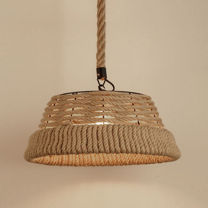 Afbeelding van YWXLight Vintage hennep touw hanger licht Retro E27 Retro industrielamp basis Loft ijzer Lamp slaapkamer eetkamer kamer Cafe Bar hangende Lamp (koud wit)