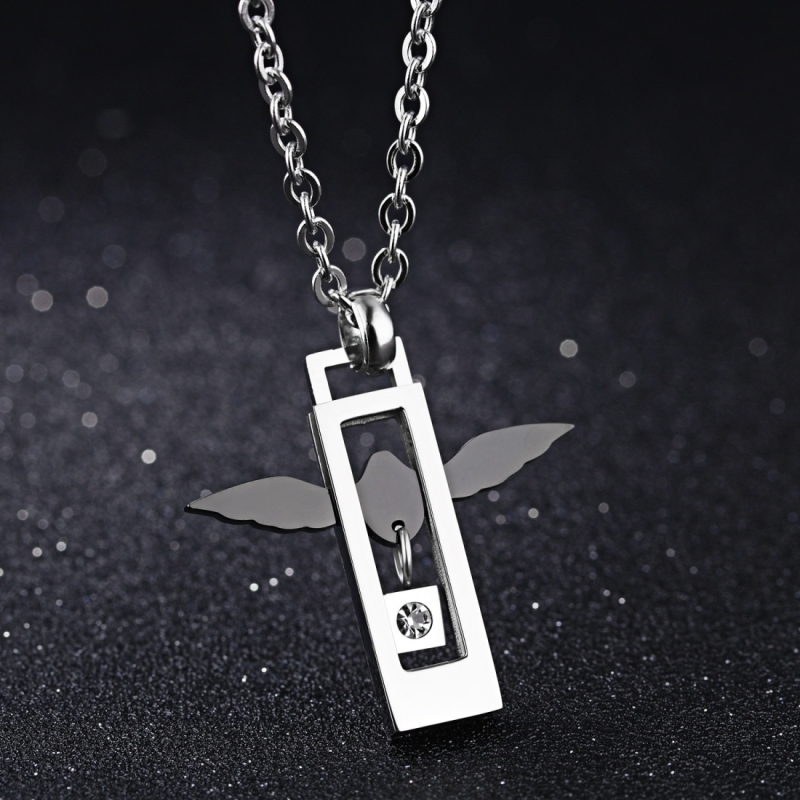 Afbeelding van OPK Fashion Angel liefde paar Titanium stalen ketting hanger + ketting (mannen)